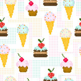 Seamless pattern with pixel sweets Stock Photo