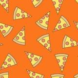 Seamless pattern of pizza, flat style. stock illustration