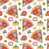 Seamless pattern with pizza illustrations Stock Images