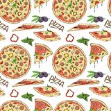 Seamless pattern of pizza and ingredients on white background. Vector illustration in sketch style vector illustration