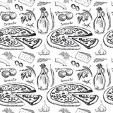 Seamless pattern with pizza Stock Images