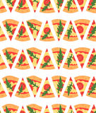 Seamless pattern with pizza margherita slices. Vector illustration Royalty Free Stock Photography
