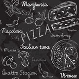 Seamless pattern with Pizza menu Stock Images