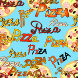 Seamless pattern with pizza and the name of the pizza on a blue Stock Image