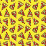 Seamless pattern with pizza pieces. stock illustration