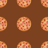 Seamless pattern with pizza salami. Stock Image