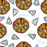 Seamless pattern with pizza slices. Stock Photography
