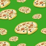 Seamless pattern pizza vector illustration Stock Photos