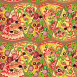 Seamless pattern pizza. Vector pattern of slices of pizza Vector Illustration