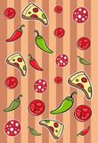 Seamless pattern for pizzeria with pizza pieces, sausage, pepper and tomato, pizza vector pattern. Seamless pattern for pizzeria with pizza pieces, sausage stock illustration
