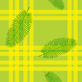 Seamless  pattern in plaid with palm leaves. Floral background. Template for wallpaper, a web page, surface textures, and textiles. Vector hand drawn wave Stock Photo