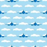 Seamless pattern with planes and clouds. Vector illustration. stock illustration