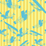 Seamless pattern planes layout. Decorative layout with old planes silhouettes, seamless pattern Stock Images