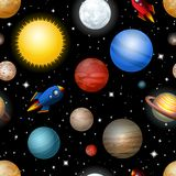 Seamless pattern with planets and rockets. In space Royalty Free Stock Photography