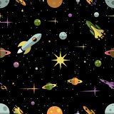 Seamless pattern with planets rockets and stars Stock Photo