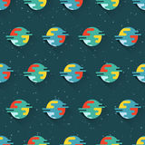 Seamless pattern with planets and stars. Seamless space pattern with planets and stars. Trendy flat design vector illustration. Can be used for wallpaper Royalty Free Stock Photos