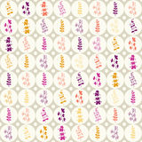 Seamless pattern with plants in the circles Royalty Free Stock Photo