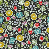 Seamless pattern with plants and flowers on the dark background. Stock Images