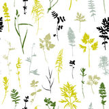 Seamless pattern with plants and leaves silhouettes Stock Image