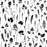 Seamless pattern with plants and leaves silhouettes Royalty Free Stock Image