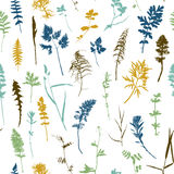 Seamless pattern with plants and leaves silhouettes Royalty Free Stock Photography