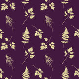 Seamless pattern with plants and leaves silhouettes Stock Photo
