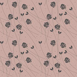 Seamless pattern with plants and roses Royalty Free Stock Photos