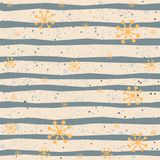 Seamless Pattern with stripes and snowflakes stock illustration