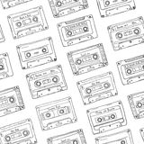 Seamless pattern, plastic cassette, audio tape with different music. Hand drawn contour background, retro style. Seamless pattern, plastic cassette, audio tape Royalty Free Stock Photo