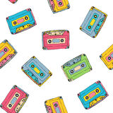 Seamless pattern with plastic cassette, music audio tape. Doodle vector colorful background, retro style. Seamless pattern with plastic cassette, music audio Stock Photography