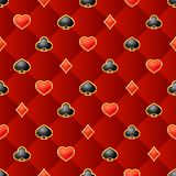 Seamless pattern with playing card suits on burgundy background. Vector isolated illustration stock illustration
