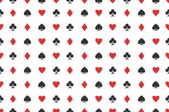 Seamless pattern of playing card suits on white. vector background design Stock Photos