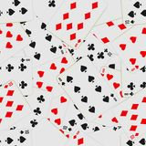 Seamless pattern with playing cards in chaos. Card deck repeated background. Vector illustration royalty free illustration
