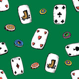 Seamless pattern with playing cards and  chips. Vector doodle background.  Stock Images