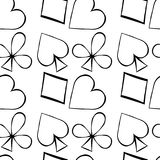Seamless pattern playing cards suit Bubi, hearts, crosses, blame Royalty Free Stock Images