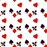 Seamless pattern playing cards suit Bubi, hearts, crosses, blame Stock Photography