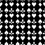 Seamless pattern playing cards suit Bubi, hearts, crosses, blame Royalty Free Stock Photos