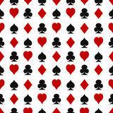 Seamless pattern with playing cards suits Royalty Free Stock Photos