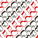 Seamless pattern with playing cards symbols. For your design Royalty Free Stock Images