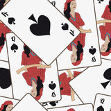 Seamless pattern with playing cards. Vector illustration Royalty Free Stock Photo