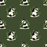 Seamless pattern with playing pandas and bamboo. Stock Images