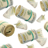 Seamless pattern with plenty Flying rolls of One Hundred Dollar Bills. Abstract money background Stock Photos