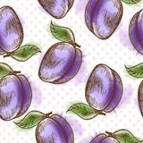 Seamless pattern with plum Royalty Free Stock Images