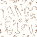 Seamless pattern with Plumbing hand drawn decorative icons set stock illustration