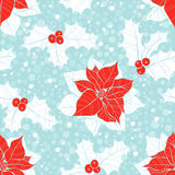 Seamless pattern with  poinsettia flowers and holly. Vector chri Stock Image