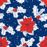 Seamless pattern with  poinsettia flowers and holly. Vector chri. Stylish New Year or Christmas background with holly and puansetiey. Vector floral background Stock Photography