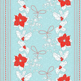 Seamless pattern with  poinsettia flowers,mistletoe and holly. V Stock Image