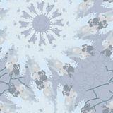 Seamless pattern with pointed snowflakes on light blue background. Can be used as Christmas or seasonal winter backdrop for computer or site or print for Stock Photo