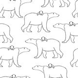 Seamless pattern with polar bear and cub. Vector illustration  on white Stock Photos