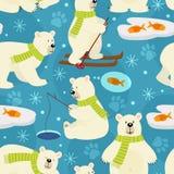 Seamless pattern polar bear vector illustration